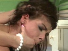 LEZDOM brunette sub dildo nailed in room