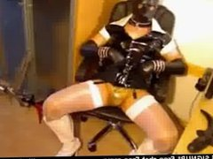 Wearing rubbermask while chatting on xhamster live sex cam wearing video p