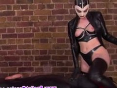 Masked FEMDOM dom wants real subs cock after riding strapon