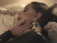 Woman in metal collar smoking