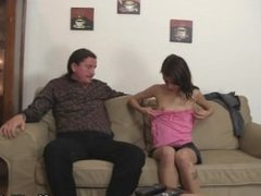 Oral orgy with her BF's family