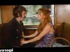 Vintage bottomless woman teaser scene in train