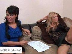 Two mature ladies and men at a cock orgy party