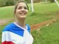 Lovely bottomless brunette plays soccer outdoors