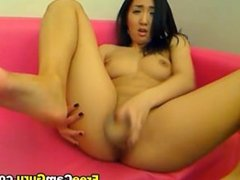 Asian Teen Playing with her Dildo