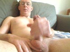 stoking my dick and cumming