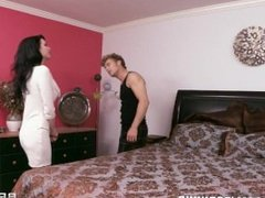 Veronica Avluv grinds her wet panties on her son's friend