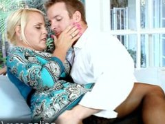 Busty housewife Alexis Golden gags on sons friends dick HD