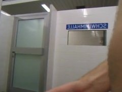 boy jacking off in locker room and cums