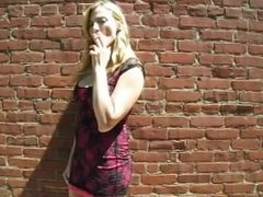 Jen smoking in her Red Dress