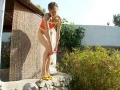 Peeing of beautiful russian teenie