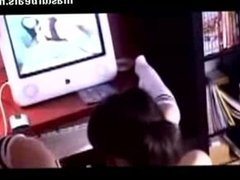 Jade cumming while watching porn at home