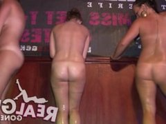 sexy coeds strip naked during a wet t shirt contest