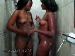 Soaped up lesbians get crazy in the shower