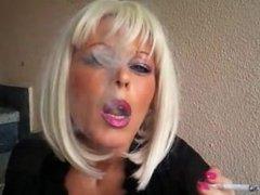 MsR smoking in black spandex outside
