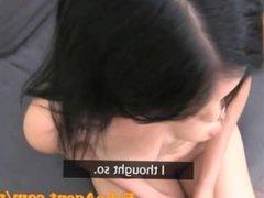 FakeAgent HD Raven hair amateur gets spunk in the eye