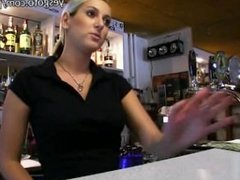 Super sexy blonde waitress in Europe gets convinced to fuck for money