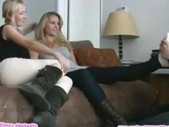 Beautiful blonde girls feet worshipped