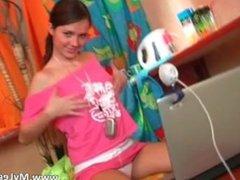 Cute brunette teen loves stripping part6