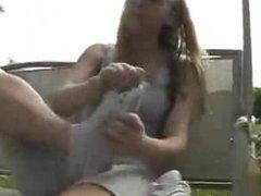 girl sniff her own feet..