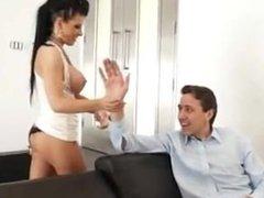 Rebeca Linares threesome with big white dicks