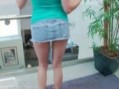 POV teenage blonde tugging a craving dick on stairs