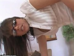 MILF babe wearing glasses sucks dick before getting fucked