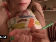 Tempting fragile teen Beata playing in her bed