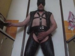 leather gay masturbates and cum