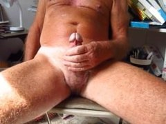 Grandpa handles his 75 year old circumcised cock