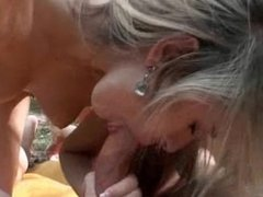 Tatoo blonde licking and riding a long dick