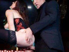 Hot babe wearing stockings rides dick after sucking