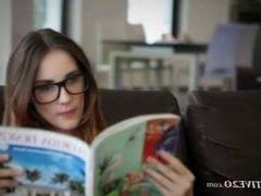 subtle brunette with glasses