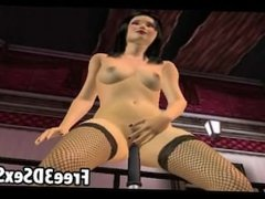 Foxy 3D brunette gets fucked by a mechanical dildo
