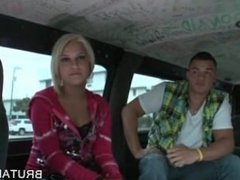 Blonde amateur picked up to get fucked in the bus