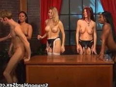 He Gets Strapon Fucked by 5 Girls!