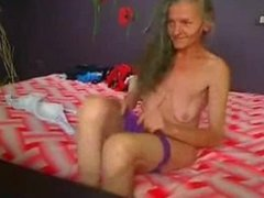 Amateur ugly granny showing on web cam