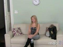 Beautiful teen masturbating on sofa