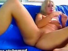 Sexy blonde MILF playing with her pussy