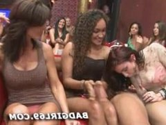 Group of women get hot for strippers