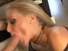 Blonde whore fucks in her home