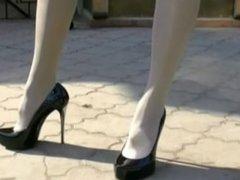 Hot blonde in short dress and mini skirt