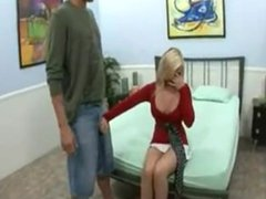 Blonde babe gets talked over to suck and fuck his long cock