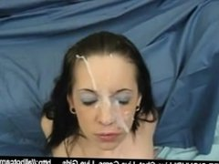 Young pretty brunette gets cumshot all over her face  brunette sex cam grat
