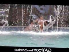 GayRoom Playboys in waterfall grotto wet n wild