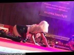 Blonde bitch gets horny stripping part2