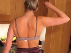 Blonde beauty in kitchen teasing hard