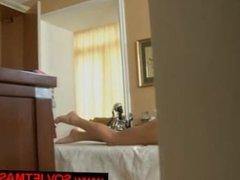 brunette girl in massage room with horny massage guy
