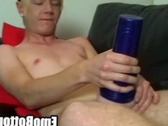 A sexy punk twink is jerking his big cock off