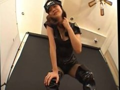 Japanese police lady spit on her slave in uniform and Long boots